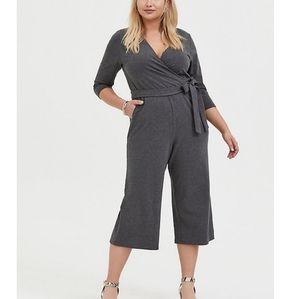 Torrid French Terry Self-tie Culotte Jumpsuit NWT